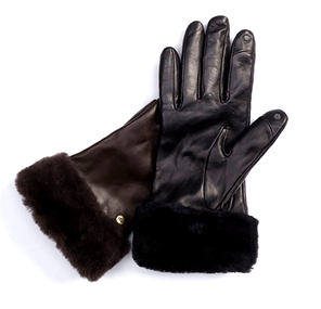 Leather Faux Fur Texting Gloves