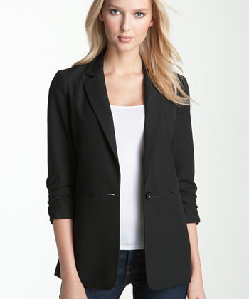 A black boyfriend blazer is not only comfy it is also hiding your  long Torso ( Jacket:Michael Kors, $ 88).