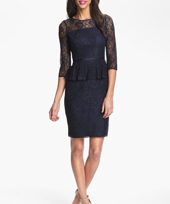 The peplum, navy-colored peplum dress is perfect match for a romantic dinner or a visit to the opera. It`s classic , yet so feminine. Just look at those hips honey! ( Dress: Adrianna Papell, $178)