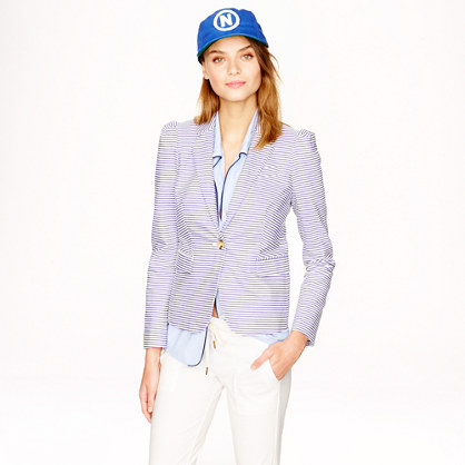 This puff-sleeve blazer is a perfect match for all Petites because it is short and a tailord jacket, that is slightly shrunken.  Its maritime look due to the Japanese seersucker makes you wanna take a boat cruise somewhere over the Côte d`Azur ( Jacket: J.Crew, $188).