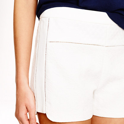 The mixed matelassé fabrics short with a delicate eyelet trim prolong your legs and make you feel sexy like never before( Shorts: J.Crew, $69.50).